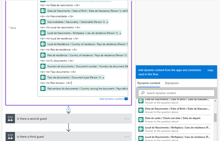 Microsoft Flow: First Guest info extracted
