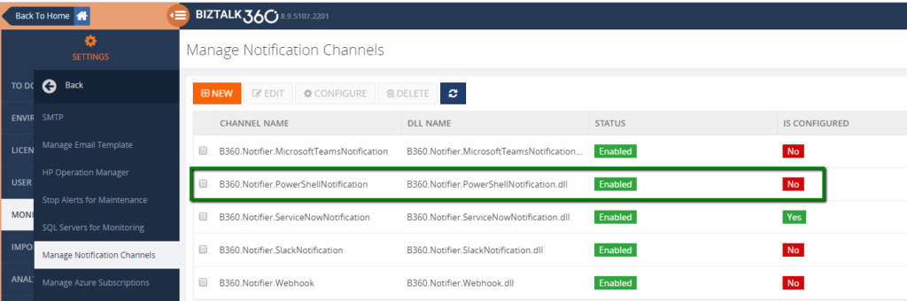 Terminating Dehydrated Service instances - Configure PowerShell Notification channel