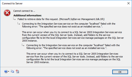 BizTalk Server and SSIS: The specified service does not exist as an installed service