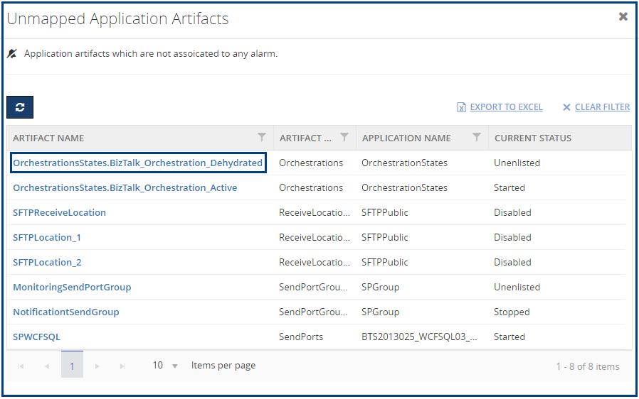 Unmapped Application Artifacts