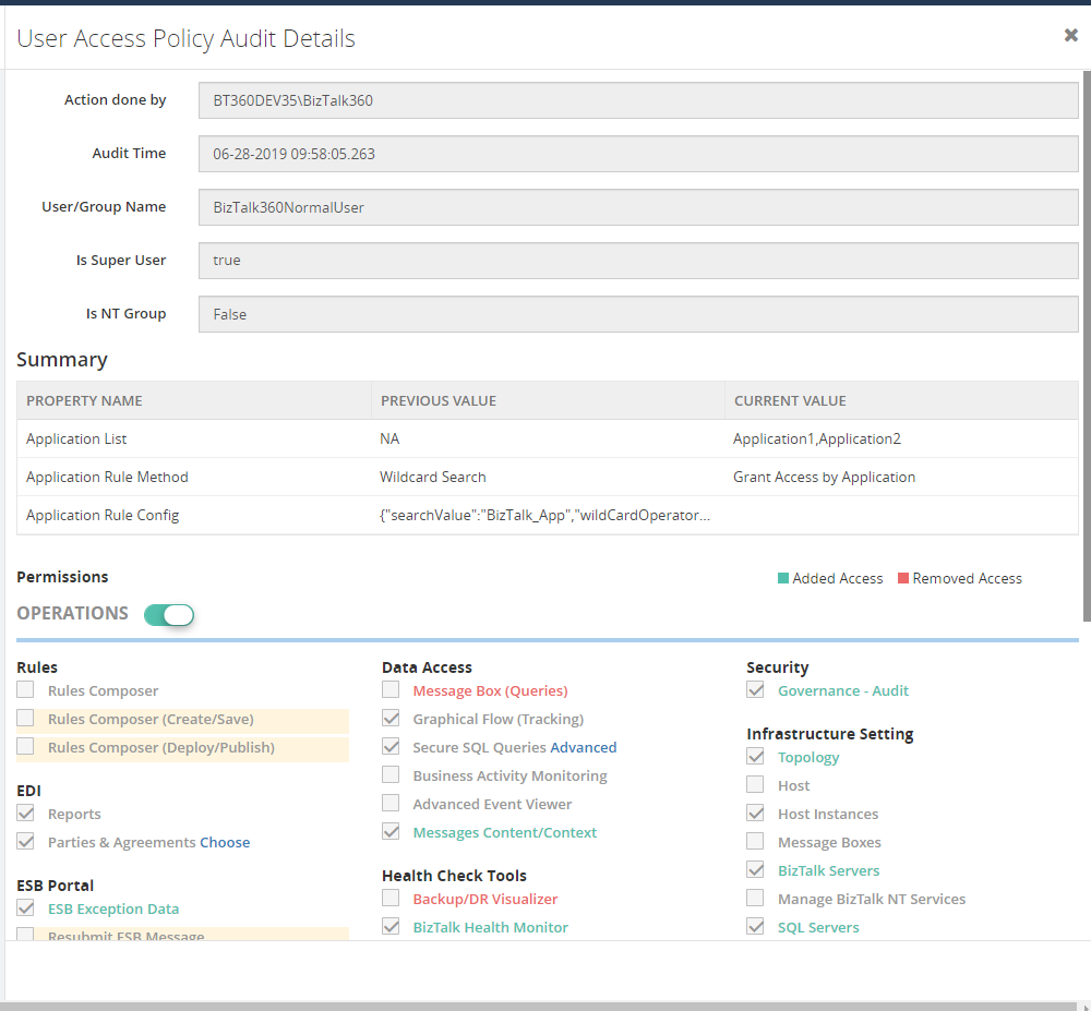 User Access Policy Detail view- Update