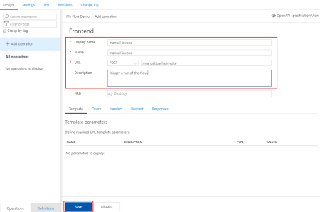 Azure API Management Create Add Blank API Add operation