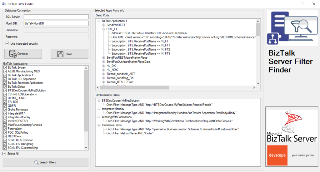 BizTalk Filter Finder Tool