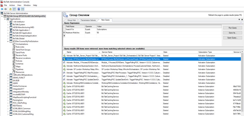 BizTalk Administration Console Subscription query