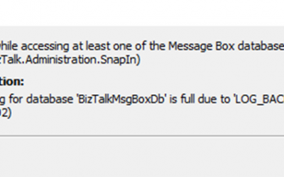 BizTalk Server: The transaction log for database 'BizTalkMsgBoxDb' is full due to 'LOG_BACKUP'.