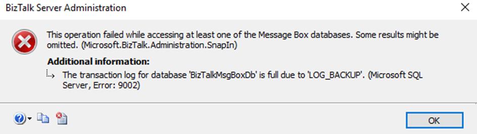 The transaction log for database 'BizTalkMsgBoxDb' is full due to 'LOG_BACKUP'