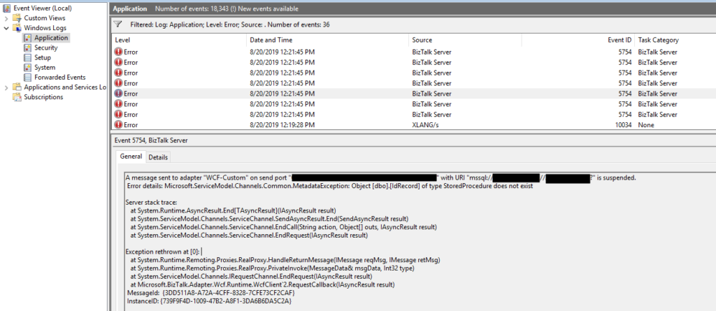 Microsoft.ServiceModel.Channels.Common.MetadataException: Object [dbo].[ColumnName] of type StoredProcedure does not exist.