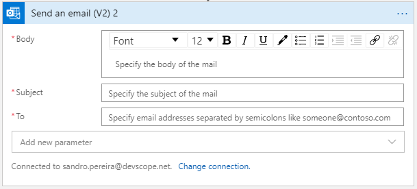 Office 365 Outlook connector Send an email V2 action shape
