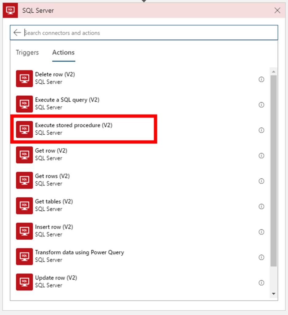 SQL Server Connector on Logic App designer