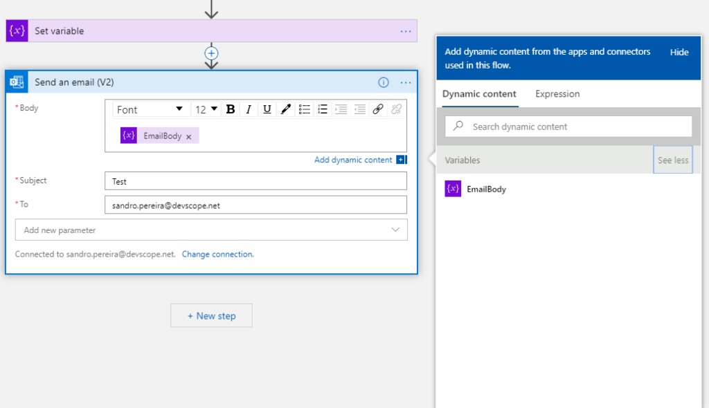 set body property variable on Office 365 Outlook connector Send an email V2 action