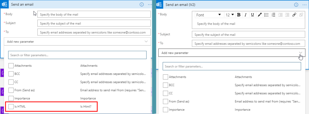 Office 365 Outlook connector Send an email comparetion between versions