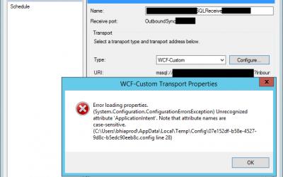 BizTalk Administration Console Error: Unrecognized attribute 'Attribute-Name'. Note that attribute names are case-sensitive
