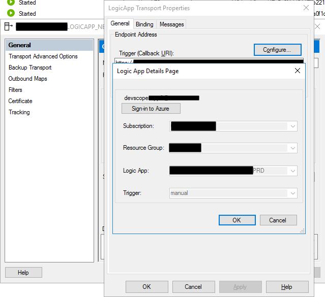 Logic App Adapter configuration on the BizTalk Server administration Console