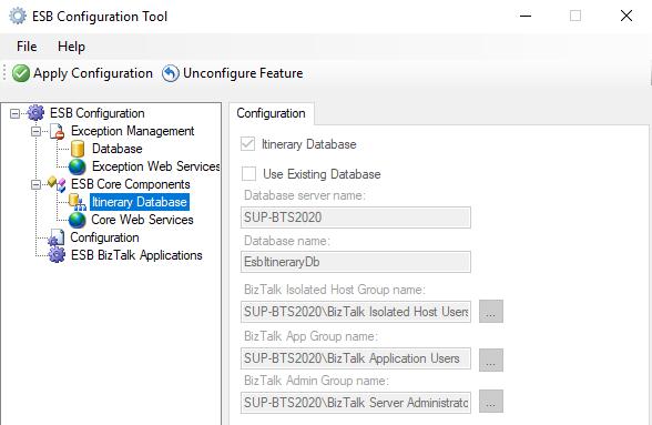 ESB-Configuration-Tool-Itinerary-Database