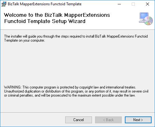 BizTalk Server 2020 MapperExtensions Functoid Wizard Welcome Screen