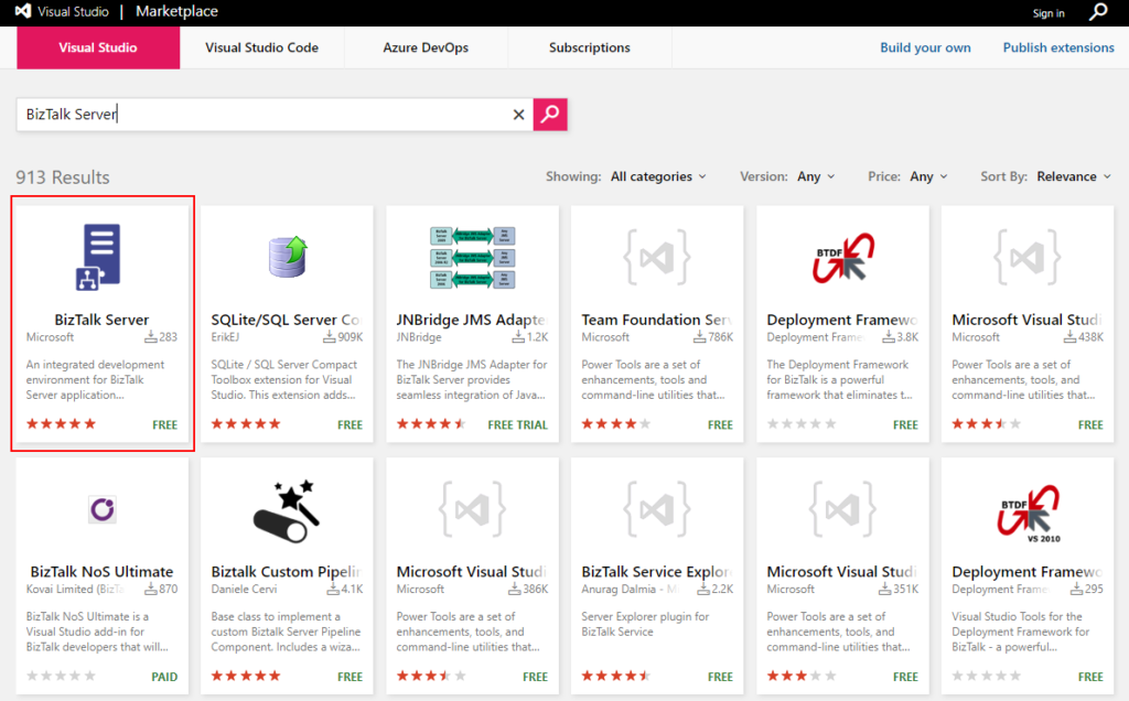 BizTalk Server development tools