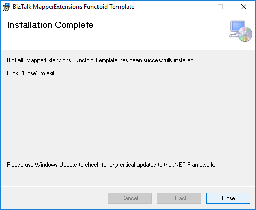 BizTalk Server 2020 MapperExtensions Functoid Wizard Complete Screen