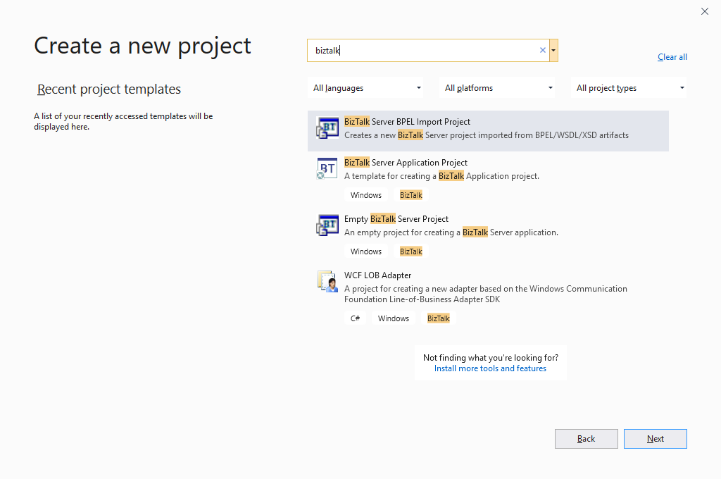 BizTalk Server 2020: Visual Studio 2019 New BizTalk Project