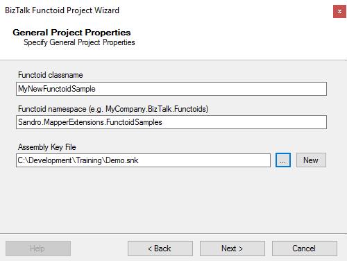 BizTalk MapperExtensions Functoid Wizard: General Properties Screen