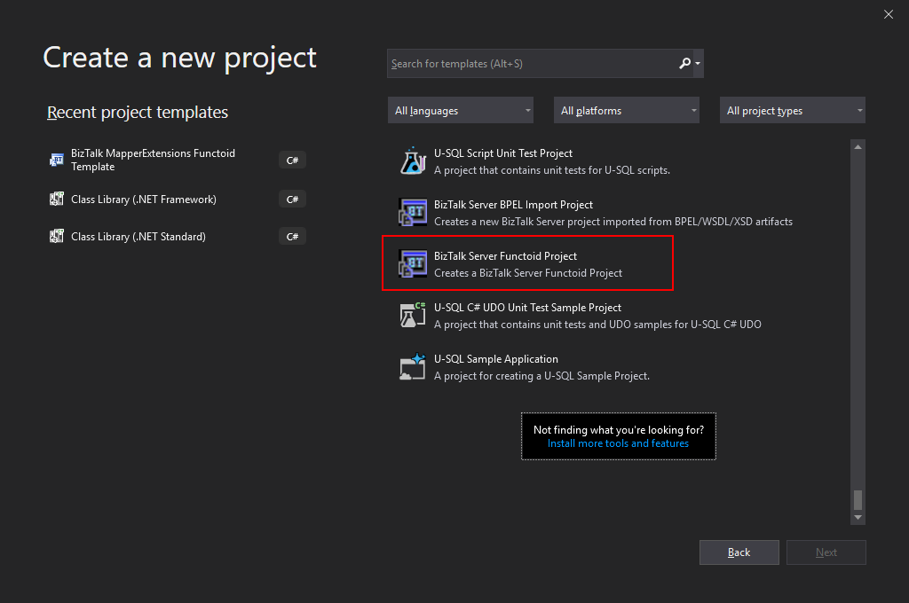 Visual Studio 2019 BizTalk Server Functoid Project option