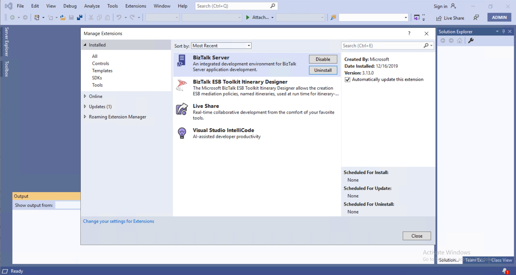 Install the BizTalk Server extension to use the developer tools