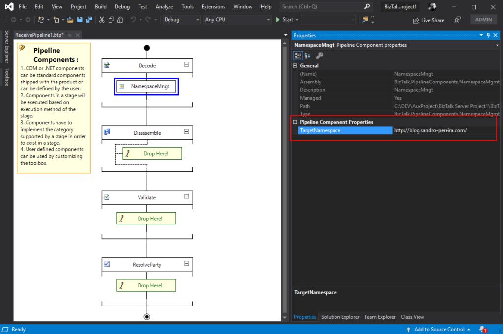 XML Namespace Management Pipeline Component