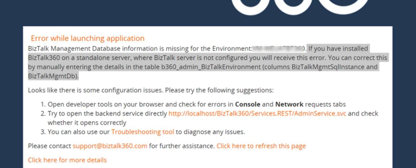 BizTalk360 database