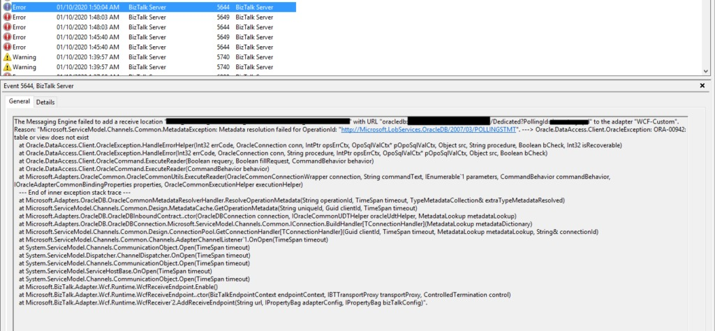 Oracle.DataAccess.Client.OracleException: ORA-00942: table or view does not exist