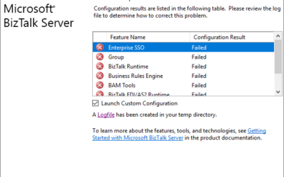 BizTalk Server Configuration error: Cannot create file 'C:pathname.mdf' because it already exists. Change the file path or the file name, and retry the operation