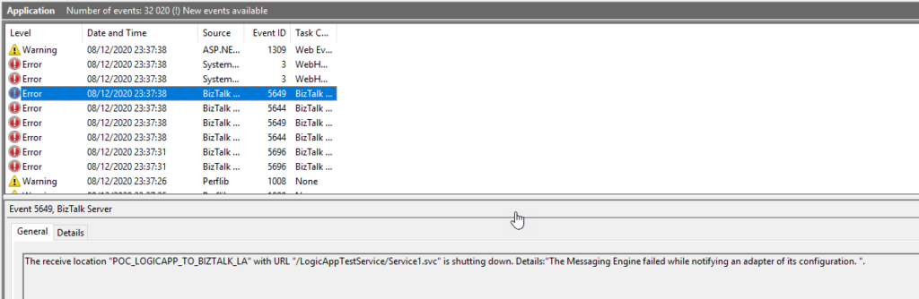 """BizTalk Server 2020 Logic App Receive Adapter: The error occurred because the component does not implement the mandatory interface """"IBTTransportControl""""."""