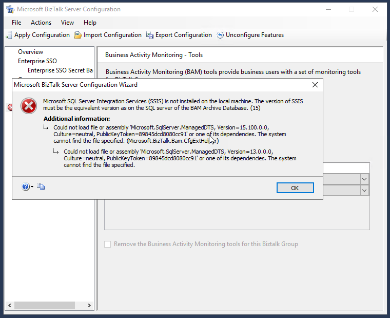 BizTalk Server 2020 BAM Configuration: Microsoft SQL Server Integration Services (SSIS) is not installed on the local machine