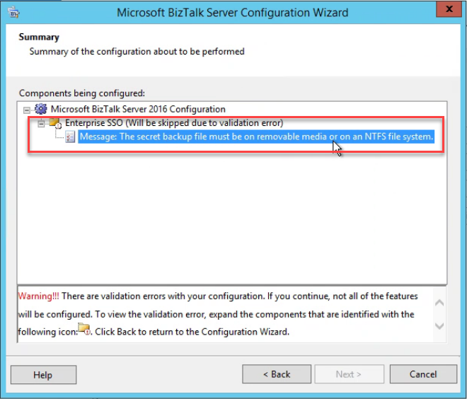 BizTalk Server Configuration Warning: Enterprise SSO will be skipped due to validation error