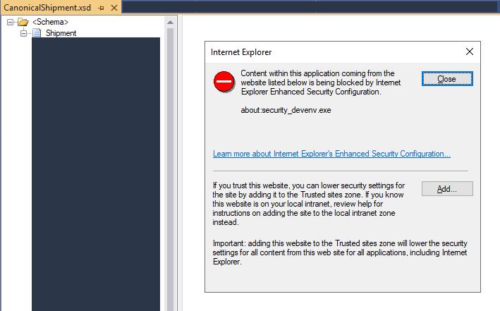 BizTalk Server Schema Editor getting blocked by Internet Explorer Enhanced Security Configuration
